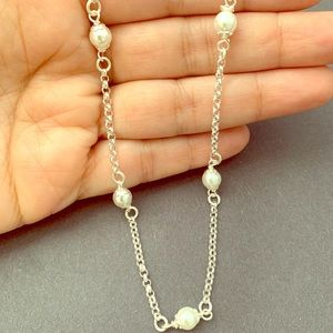 Sterling Silver with Real Pearls Necklace